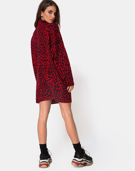 Neivie Jumper Dress in Animal Knit Red by Motel