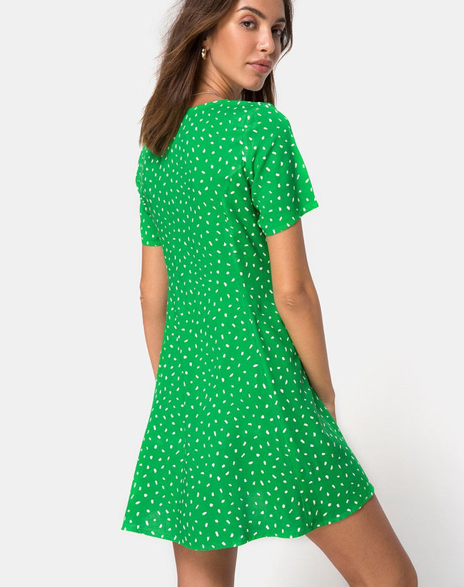 Neyka Dress in Mini Diana Dot Green by Motel