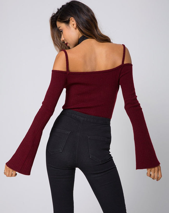 Niani Cold Shoulder Bodice in Rib Knit Burgundy by Motel