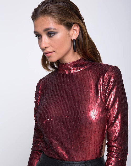 Nix Backless Bodice in Fishcale Matte Sequin Wine by Motel