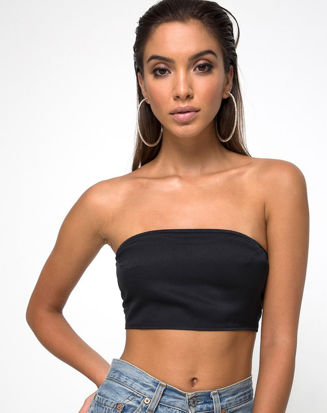 Nolia Tube Top in Satin Black by Motel