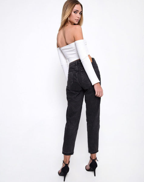 Okie Off The Shoulder Crop Top in Multi Rib Ivory by Motel