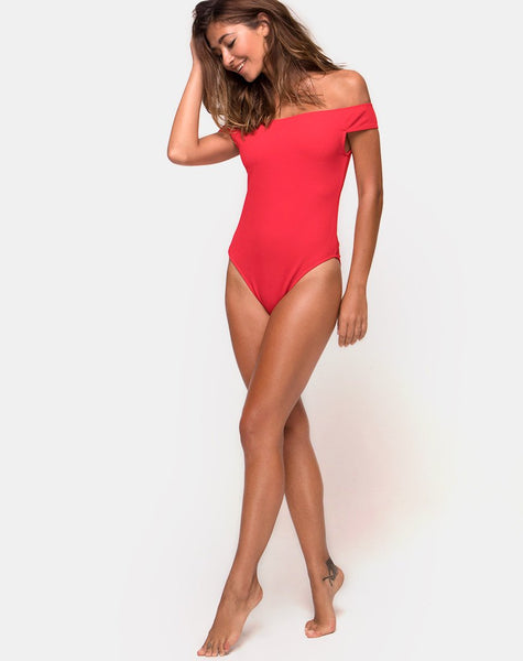 Olivia Swimsuit in Baewatch Red by Motel