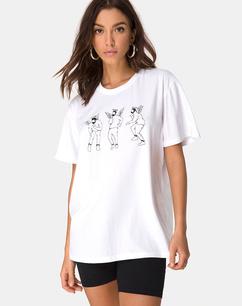 Oversize Basic Tee in White with Dancing Drake