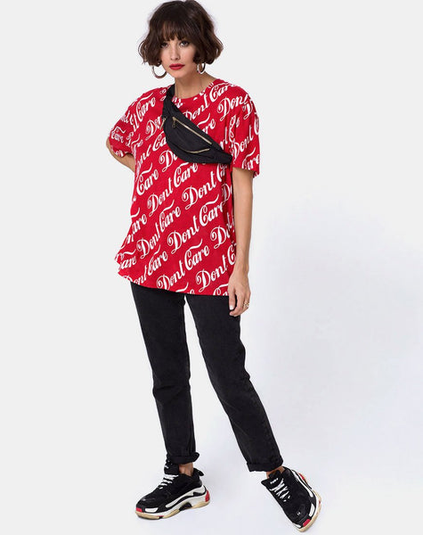 Oversize Basic Tee in Red Don't Care Full Print by Motel