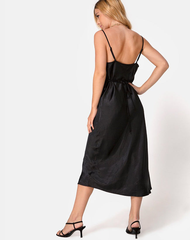 Palasha Dress in Satin Black by Motel
