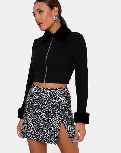 Pelmet Skirt in Rar Leopard Grey by Motel