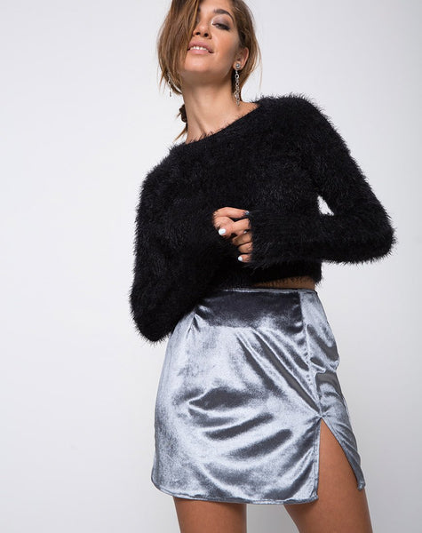 Pelmet Mini Skirt in Velvet Silver by Motel