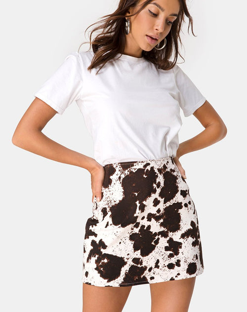 Pelmo Mini skirt in Cow Hide Brown and White by Motel