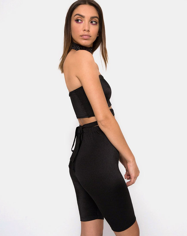 Pinella High Waisted Shorts in Black by Motel