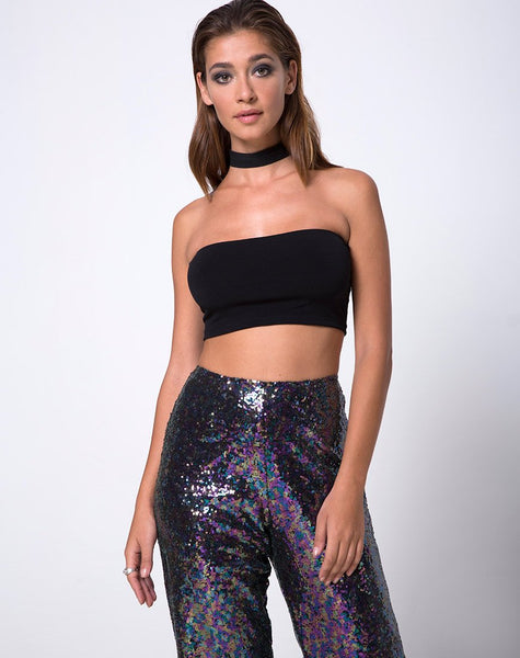 Prague Trouser in Mini Sequin Petrol by Motel