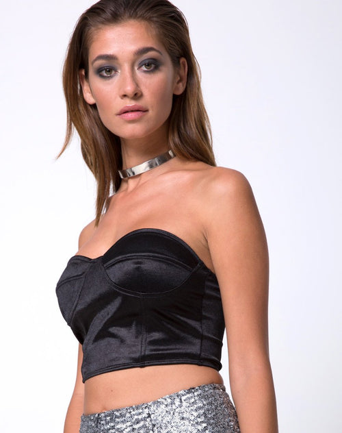 Shisui Tube Top in Satin Black by Motel