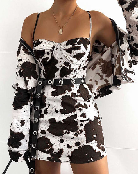 Lanti Bodice in Cow Hide Brown and White by Motel