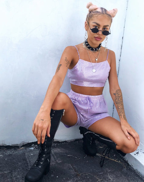 Sasha Crop Top in Matte Mini Sequin Lilac by Motel