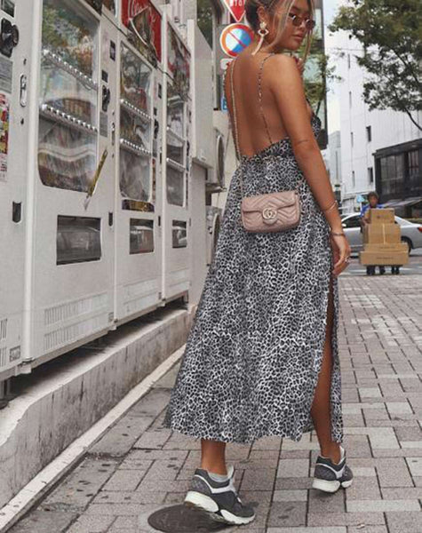 Hime Maxi Dress in Rar Leopard Grey By Motel