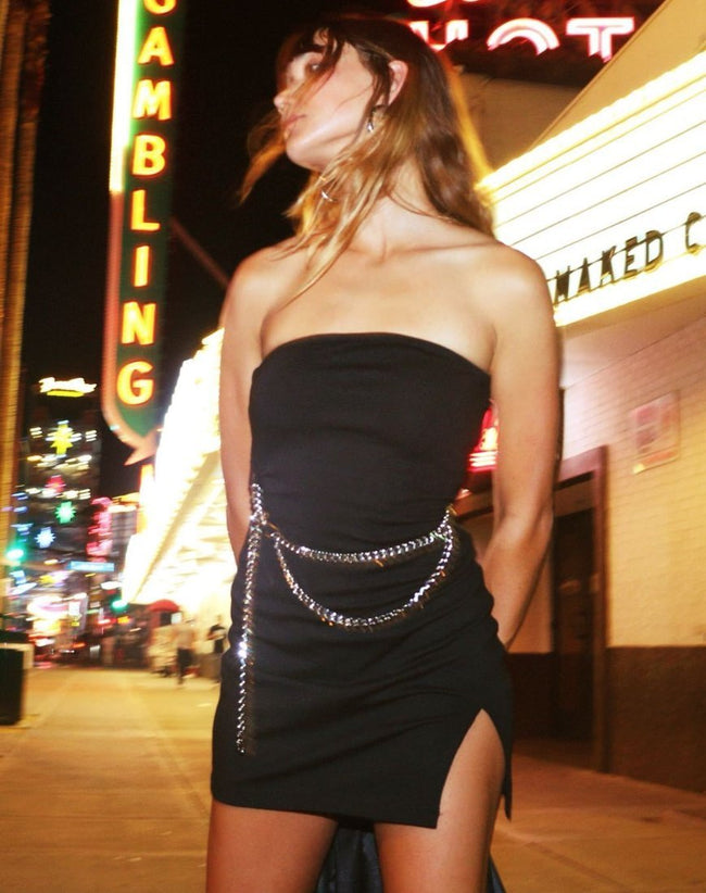 Koenig Mini Dress in Black with Silver Chain By Motel