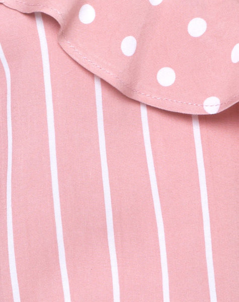 Reilly Cold Shoulder Bodice in Spot Stripe Pink and White by Motel
