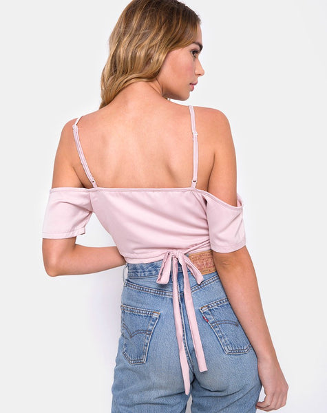 Renta Cold Shoulder Crop Top in Satin Blush by Motel
