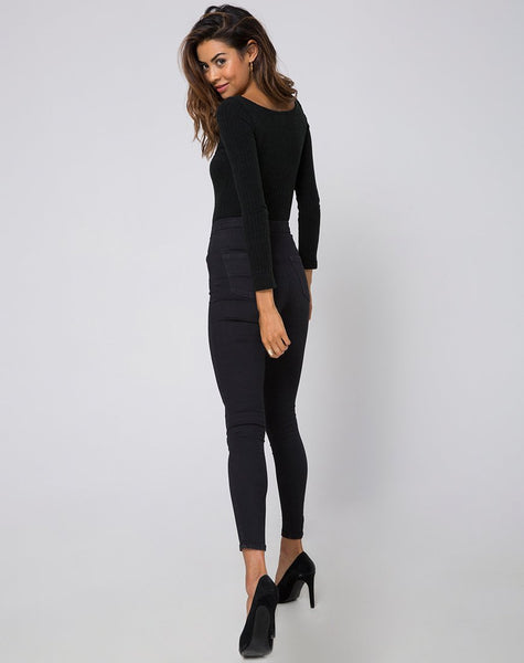 Mabel Cutout Bodice in Rib Knit Black by Motel