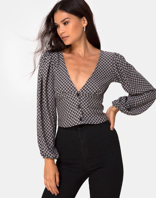 Roma Top in Check It Out Black by Model
