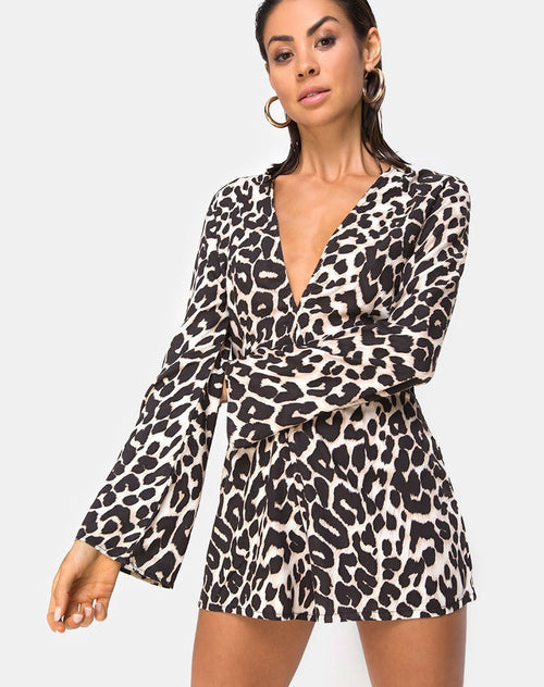 Romeo Plunge Playsuit in Oversize Jaguar by Motel