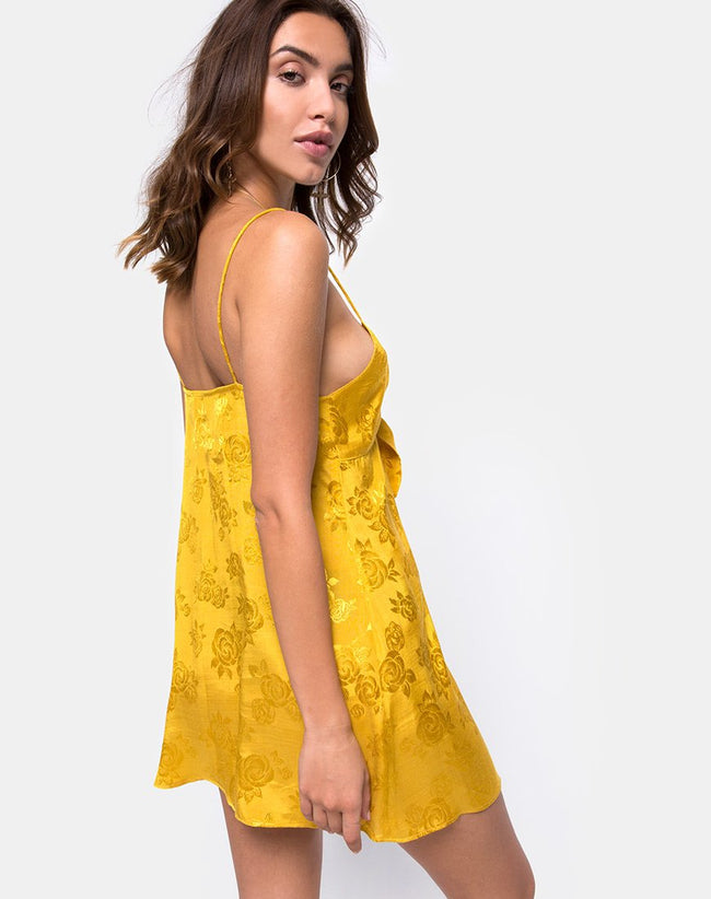 Roppan Slip Dress in Satin Mustard Rose by Motel