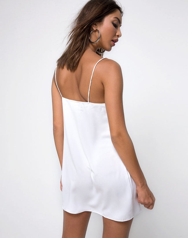 Roppan Slip Dress in Satin Ivory by Motel