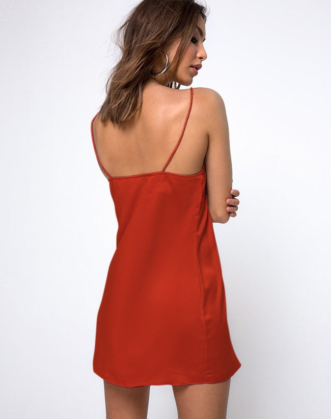 Roppan Slip Dress in Satin Rust by Motel