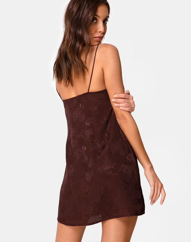Ronina Mini Dress in Satin Rose Cocoa by Motel