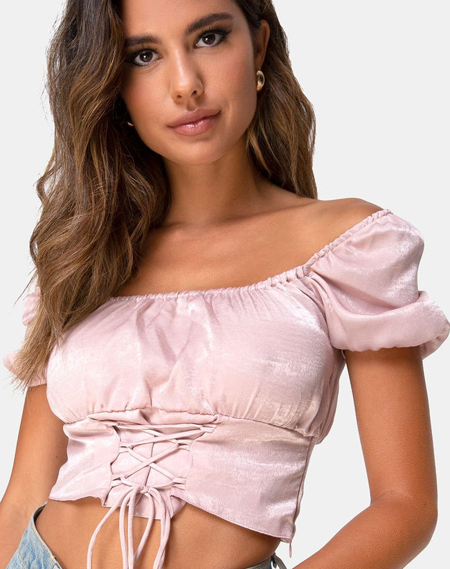 Ruiz Off The Shoulder Top in Satin Dusty Rose by Motel