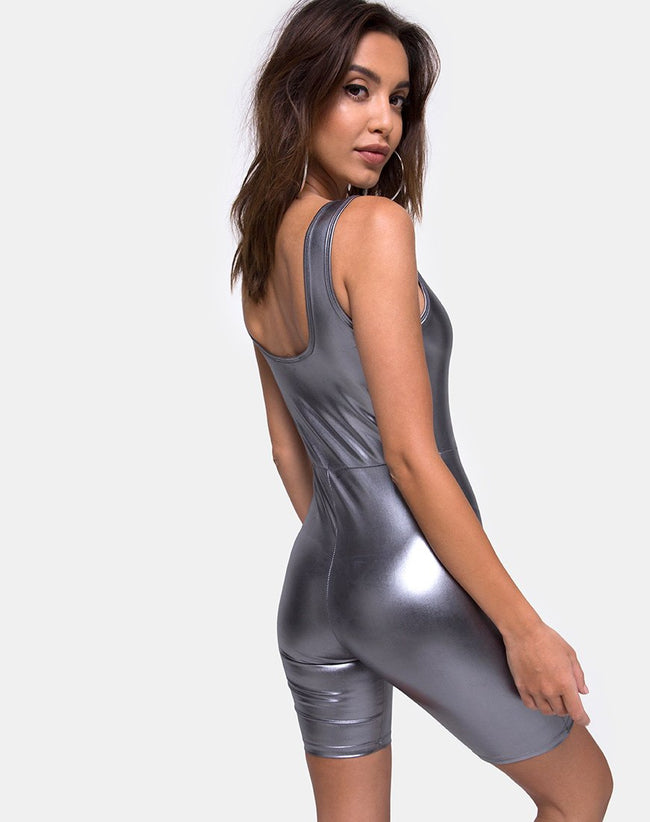 Sadie Unitard in Metallic Silver by Motel