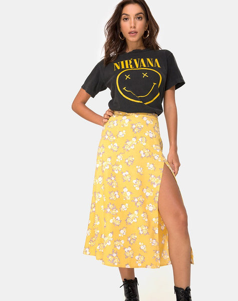 Saika Midi Skirt in Rose Bunch Yellow by Motel