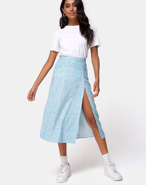 Saika Midi Skirt in Ditsy Rose Blue by Motel