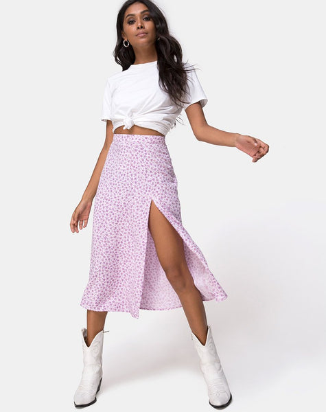 Saika Midi Skirt in Ditsy Rose Lilac by Motel
