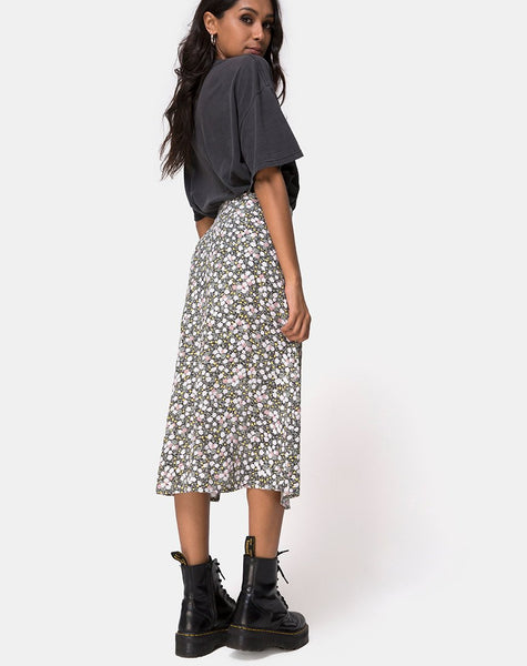 Saika Midi Skirt in Floral Field Olive by Motel