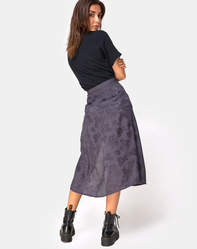 Saika Midi Skirt in Satin Rose Grey by Motel