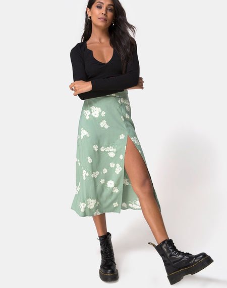 Lyra Midi Skirt in Sage by Motel