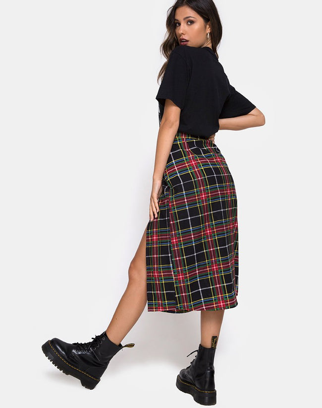 Saika Skirt in Plaid Red Green Yellow Black by Motel