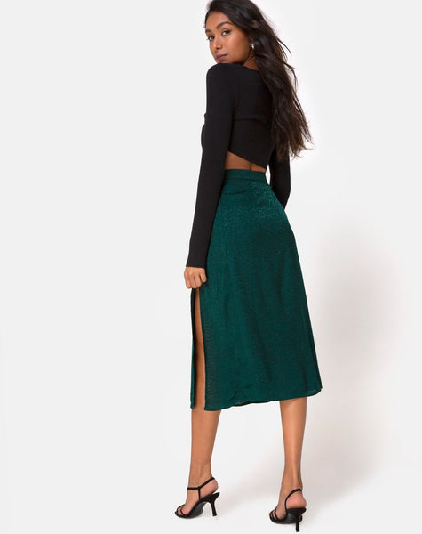 Saika Midi Skirt in Satin Cheetah Forest Green by Motel