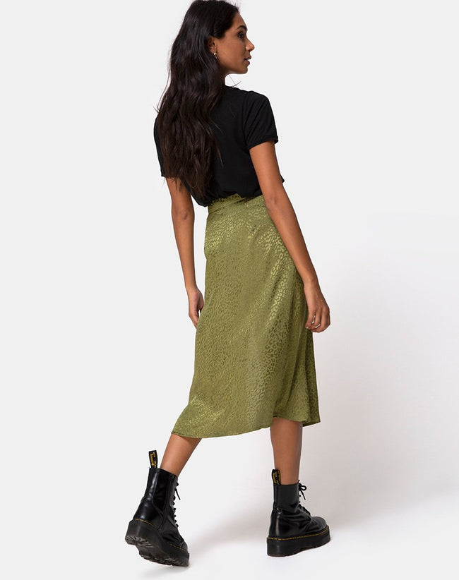 Saika Midi Skirt in Satin Cheetah Khaki by Motel