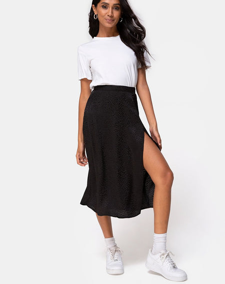Lyra Midi Skirt in Black by Motel