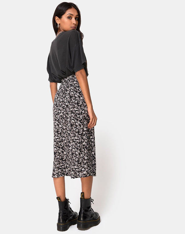 Saika Midi Skirt in Wild Tulip Black by Motel