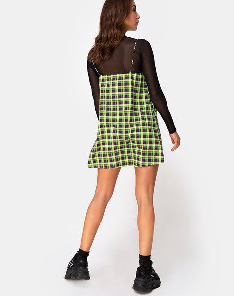 Sanna Slip Dress in Green and Purple Check by Motel