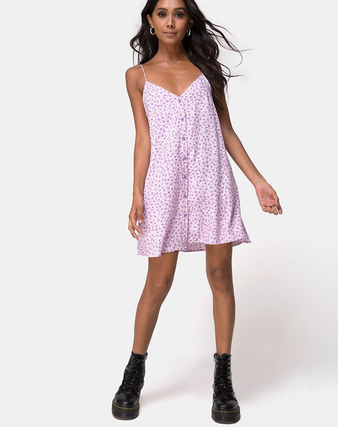 Sanna Slip Dress in Ditsy Rose Lilac by Motel