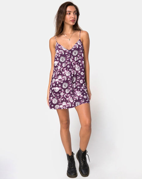 Sanna Slip Dress in Purple Zodiac by Motel