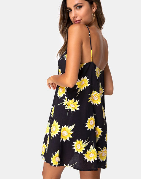 Sanna Slip Dress in Sunny Days Black by Motel