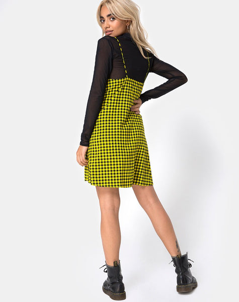 Sanna Slip Dress in Medium Gingham Yellow by Motel