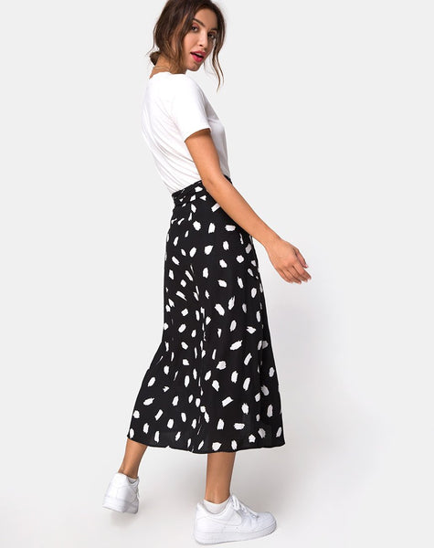 Satha Midi Skirt in Diana Dot Black by Motel