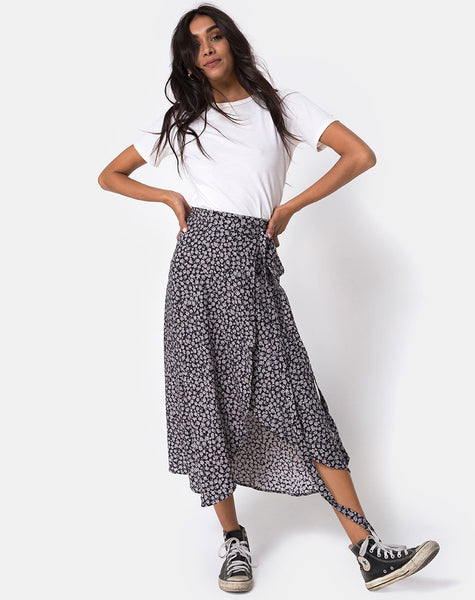 Satha Skirt in Ditsy Rose Black by Motel