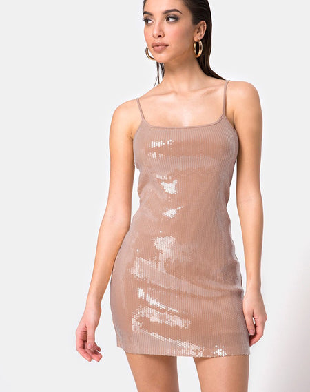 Selana Bodycon Dress in Tiger with Clear Sequin by Motel